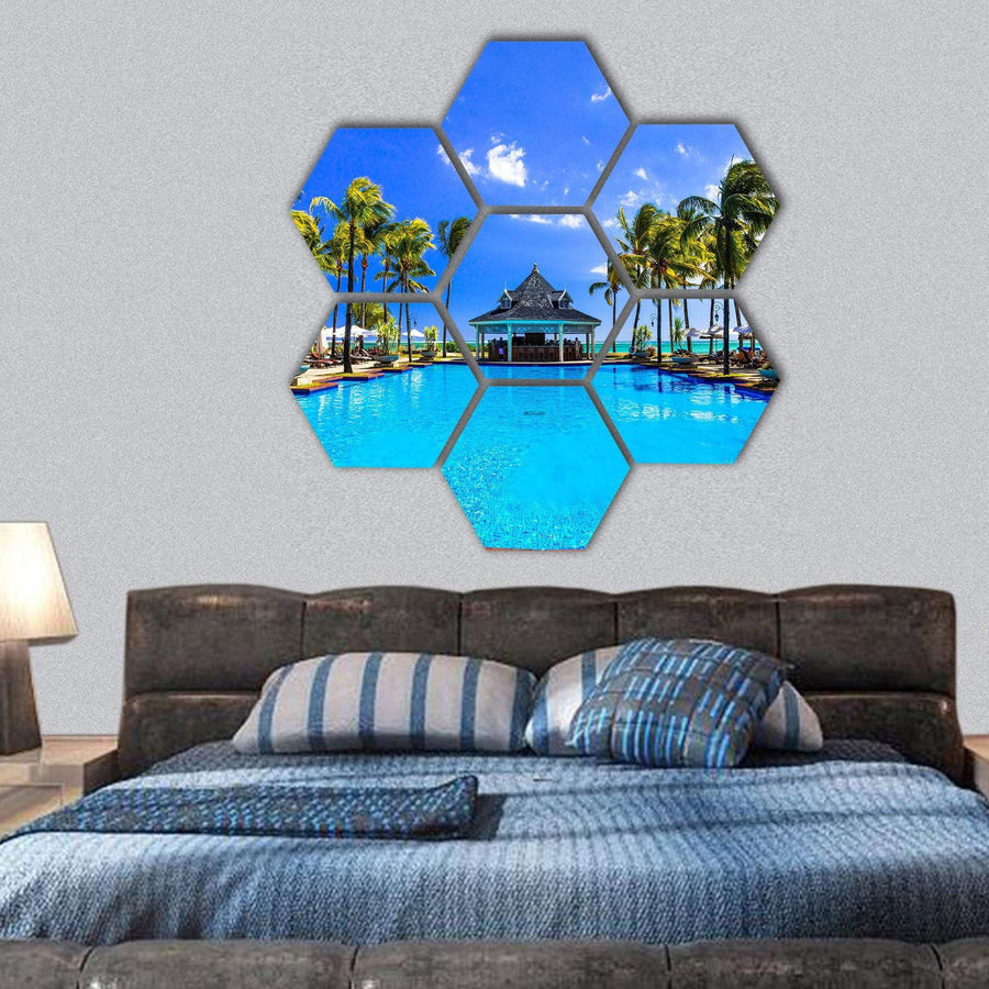 Luxury Resort In Mauritius Hexagonal Canvas Wall Art 1 Hexa / Small / Gallery Wrap Tiaracle