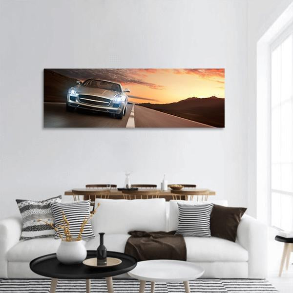 Luxury Sports Car Panoramic Canvas Wall Art Tiaracle