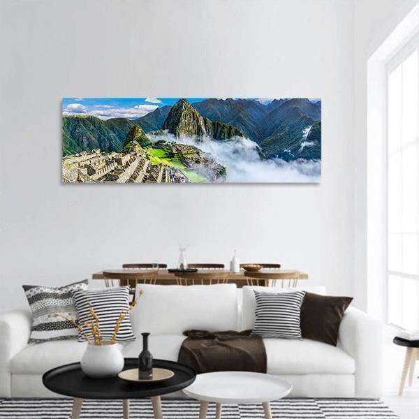 Machu Picchu In Peru Panoramic Canvas Wall Art 3 Piece / Small Tiaracle