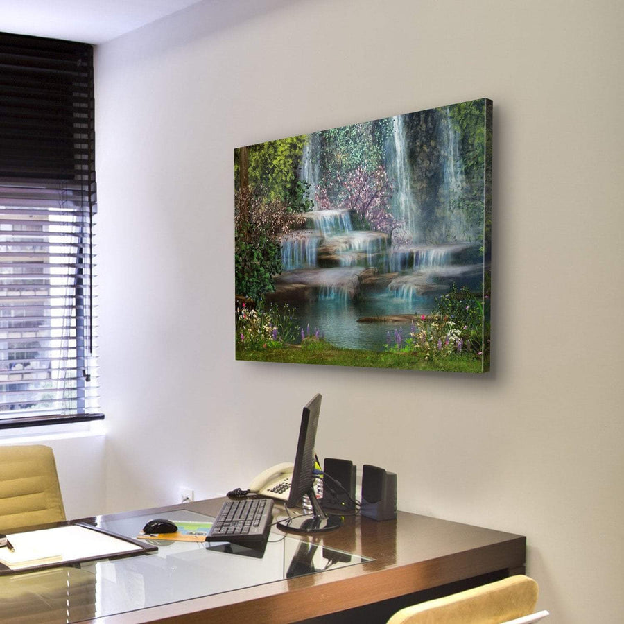 Magical Landscape With Waterfalls, Flowers And Trees Canvas Panel Painting Tiaracle