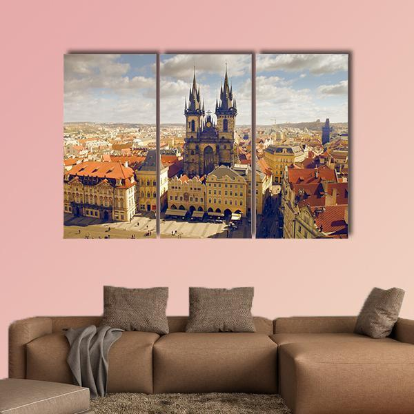 Main Square In Prague Multi Panel Canvas Wall Art 5 Pieces(A) / Medium / Canvas Tiaracle