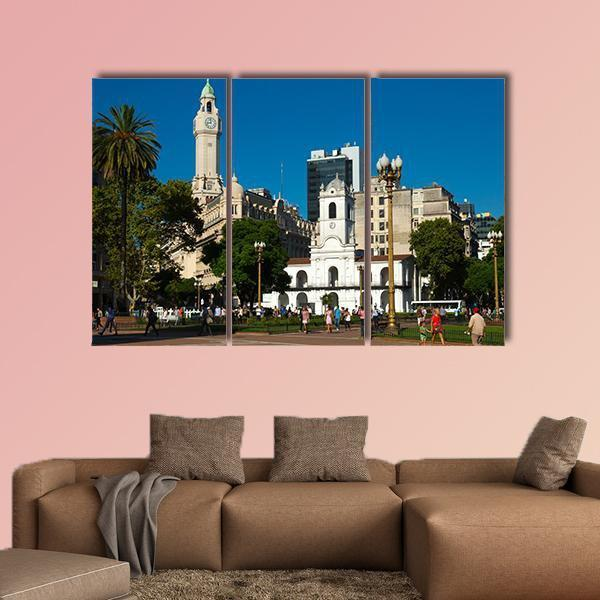Main Square Plaza De Mayo Multi Panel Canvas Wall Art 4 Pieces / Medium / Canvas Tiaracle