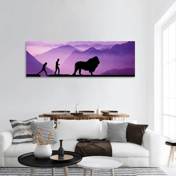 Majestic Evening In Hilly Forest Panoramic Canvas Wall Art Tiaracle