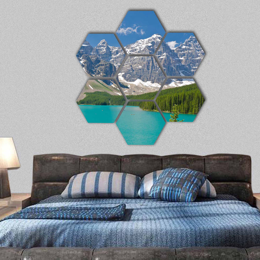 Majestic Moraine Lake In Canada Hexagonal Canvas Wall Art-1 Hexa-Small-Gallery Wrap-Tiaracle
