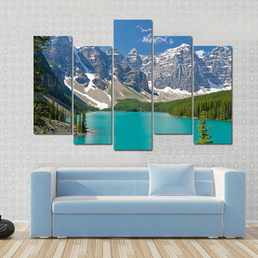 Majestic Mountain Lake In Canada Panel Painting Tiaracle