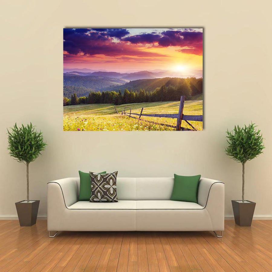 Majestic Sunset In The Mountains Landscape Multi Panel Canvas Wall Art 4 Pieces / Medium / Canvas Tiaracle