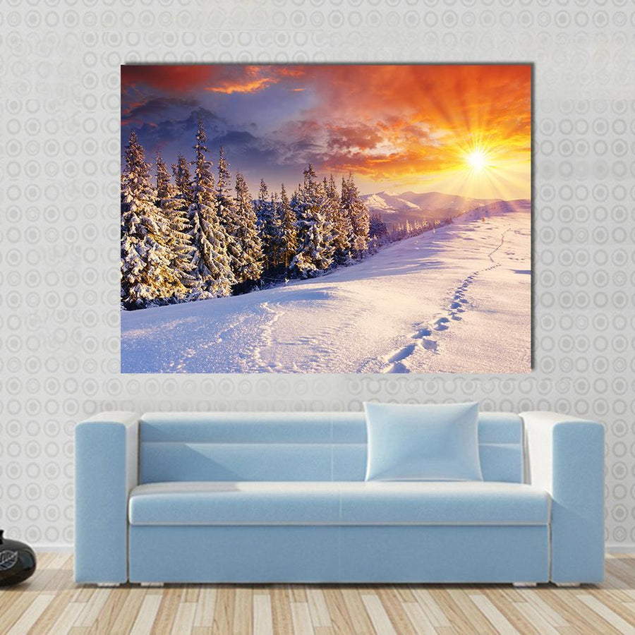 Majestic Sunset In The Winter Mountains Landscape Canvas Panel Painting Tiaracle