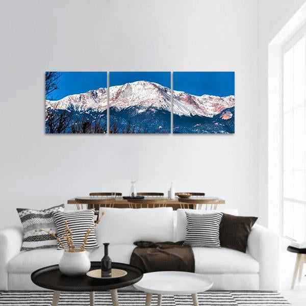 Majestic View Of Pikes Peak In Colorado Panoramic Canvas Wall Art 1 Piece / Small Tiaracle