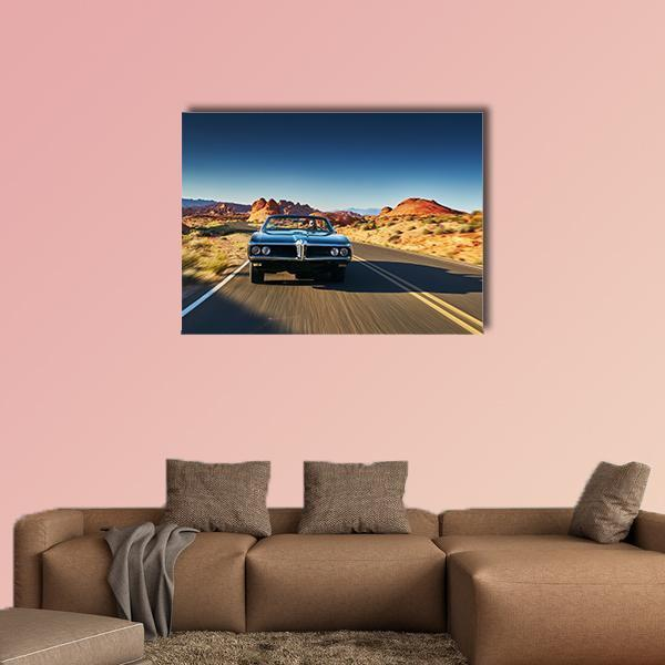 Man Driving Vintage Car Through Desert Multi Panel Canvas Wall Art 4 Pieces / Medium / Canvas Tiaracle100587571_xl