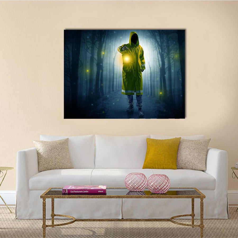 Man In Dark Forest Canvas Wall Art-5 Horizontal-Small-Gallery Wrap-Tiaracle