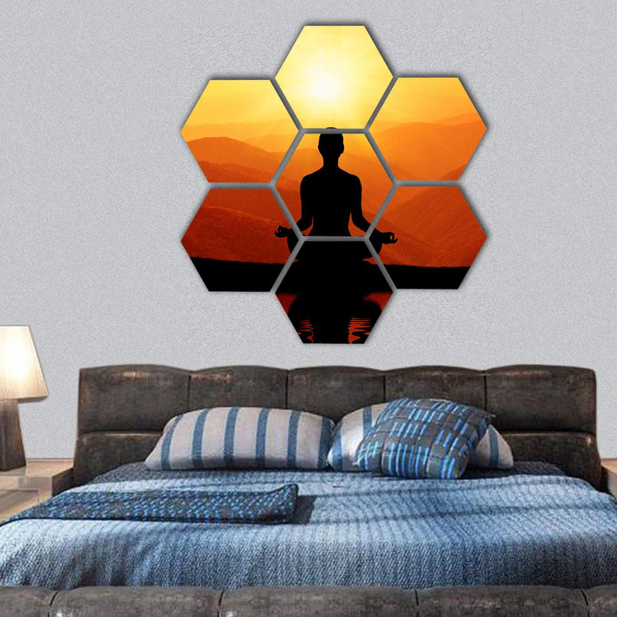 Man Meditating In Yoga Position Hexagonal Canvas Wall Art 1 Hexa / Small / Gallery Wrap Tiaracle