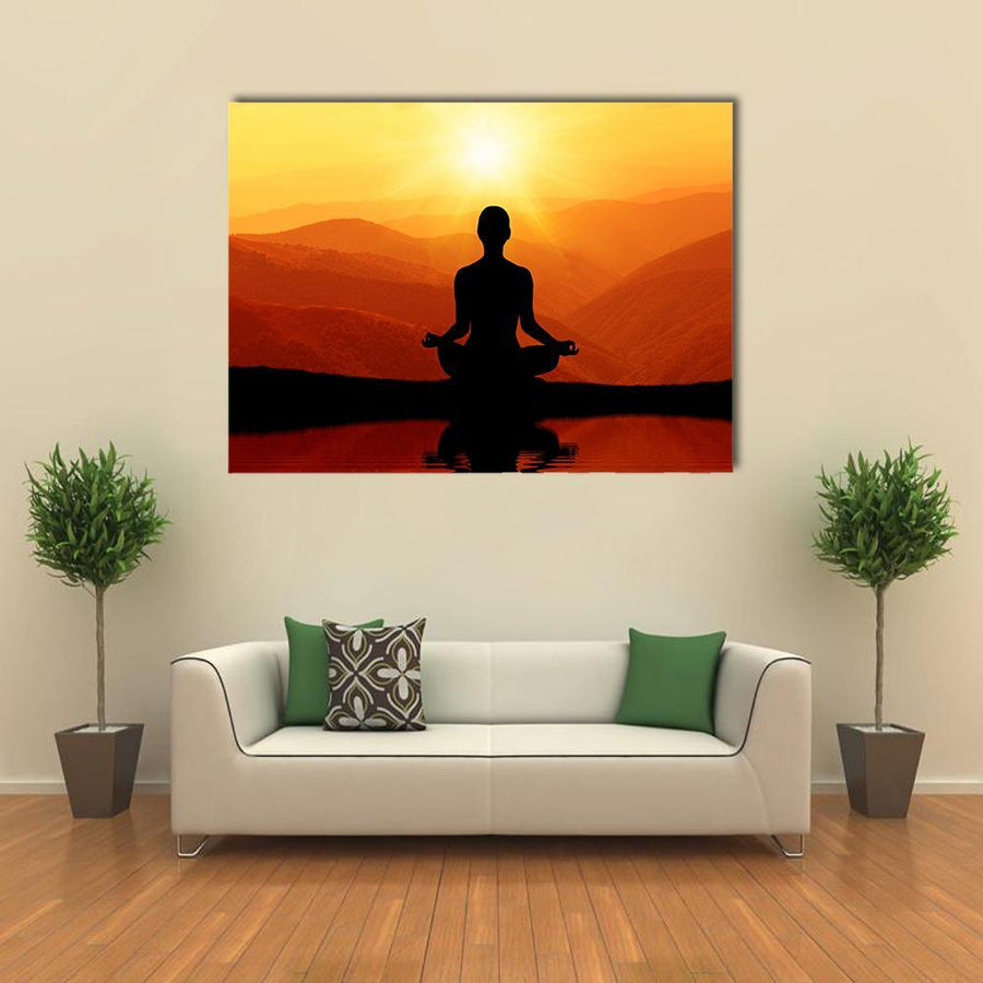 Man Meditating Silhouette Canvas Wall Art-4 Horizontal-Small-Gallery Wrap-Tiaracle
