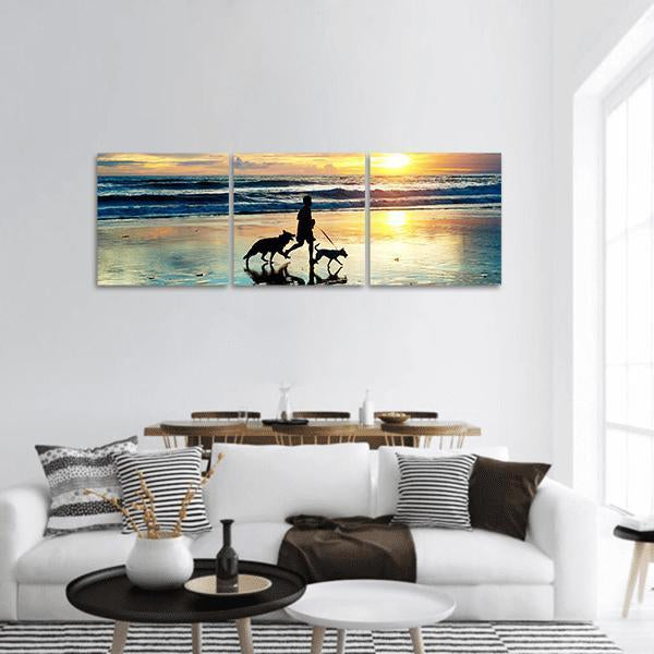 Man With A Dogs On The Beach Panoramic Canvas Wall Art 1 Piece / Small Tiaracle