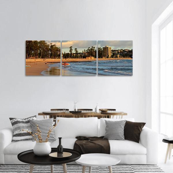 Manly Beach In Sydney Panoramic Canvas Wall Art Tiaracle