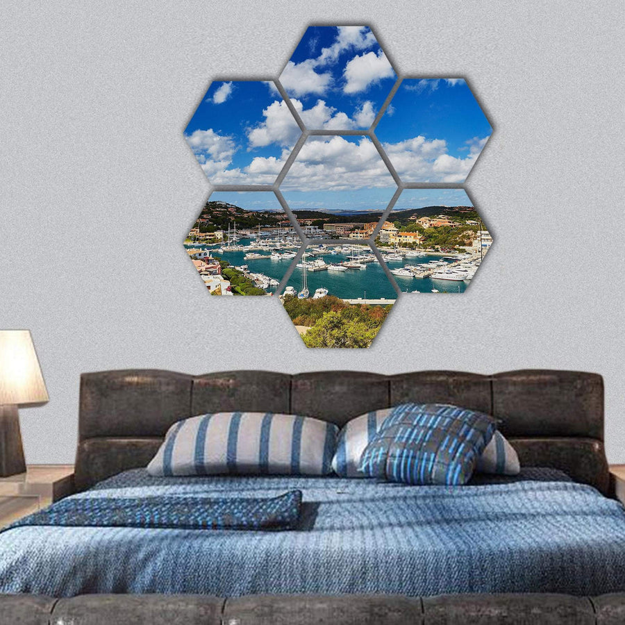 Marina Of Porto Cervo Emerald Coast Hexagonal Canvas Wall Art 1 Hexa / Small / Gallery Wrap Tiaracle