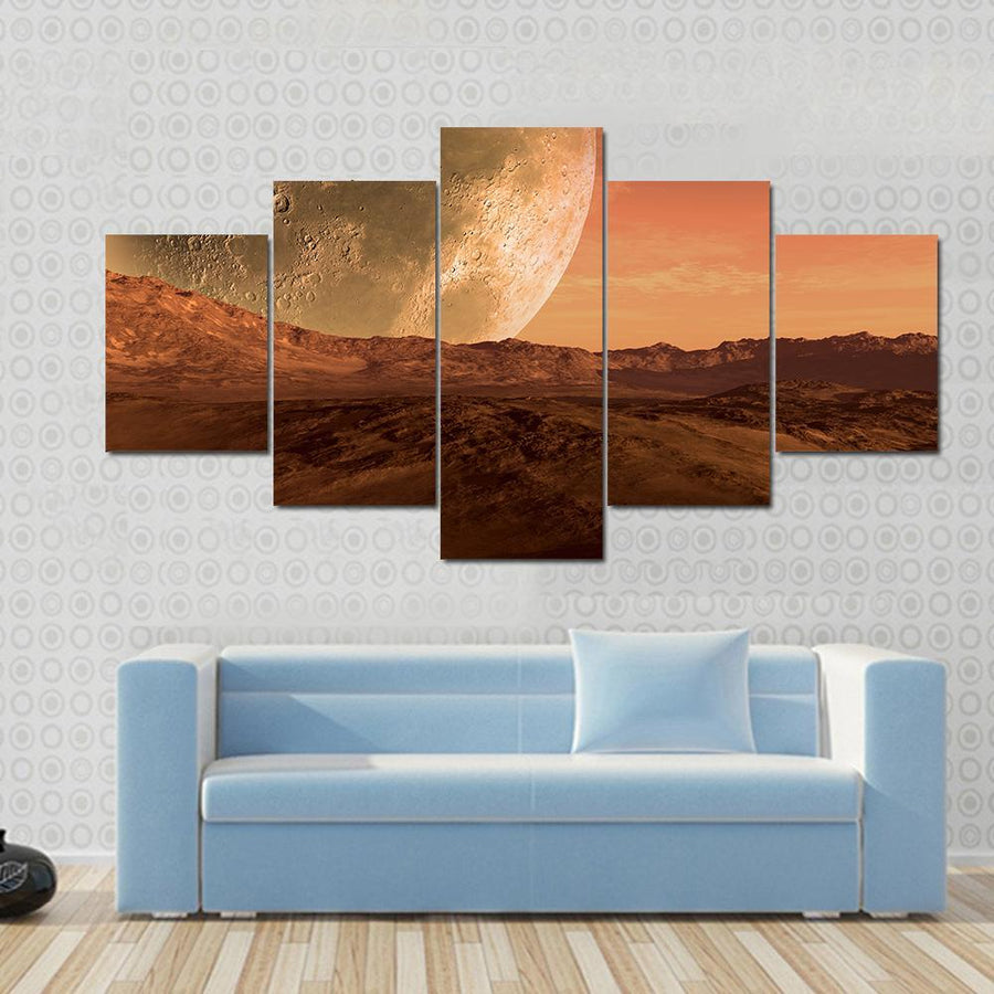 Mars Like Red Planet With Giant Moon At The Horizon Canvas Panel Painting Tiaracle