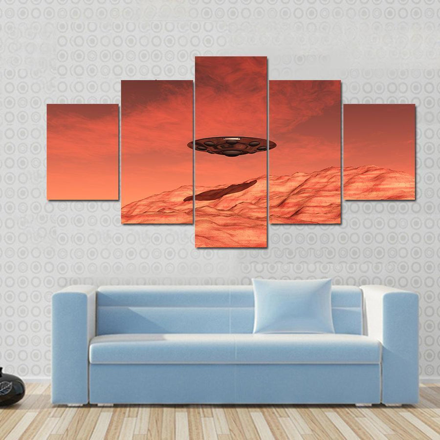 Mars Spaceship Landing On Mars Multi Panel Canvas Wall Art 3 Pieces / Small / Gallery Wrap Tiaracle