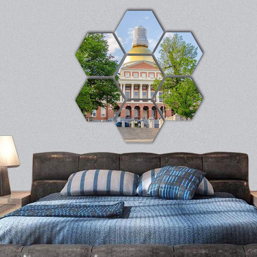 Massachusetts State House Hexagonal Canvas Wall Art 1 Hexa / Small / Gallery Wrap Tiaracle