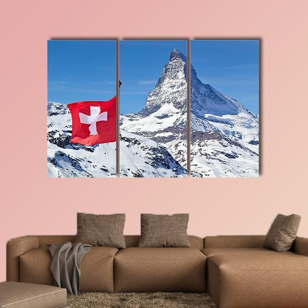 Matterhorn With Flag Of Switzerland Multi Panel Canvas Wall Art 4 Pieces / Medium / Canvas Tiaracle