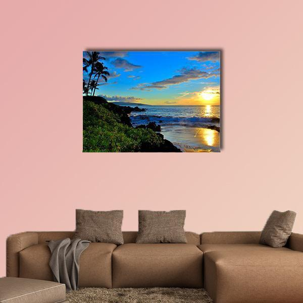 Maui Beach Sunset With Palm Trees And Foliage Multi Panel Canvas Wall Art 4 Pieces / Medium / Canvas Tiaracle