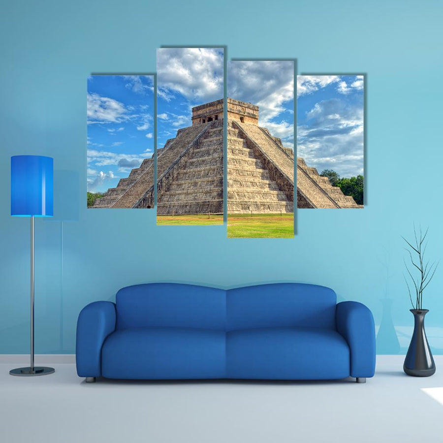 Mayan Pyramid Of Kukulcan El Castillo Multi Panel Canvas Wall Art 3 Pieces / Small / Gallery Wrap Tiaracle