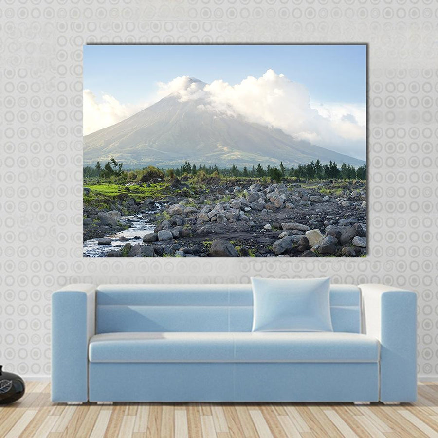 Cone Shaped Volcano Location On Luzon Island, Philippines Canvas Panel Painting Tiaracle