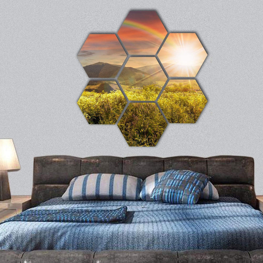 Meadow In Mountains In Sunset Light With Rainbow Hexagonal Canvas Wall Art 1 Hexa / Small / Gallery Wrap Tiaracle