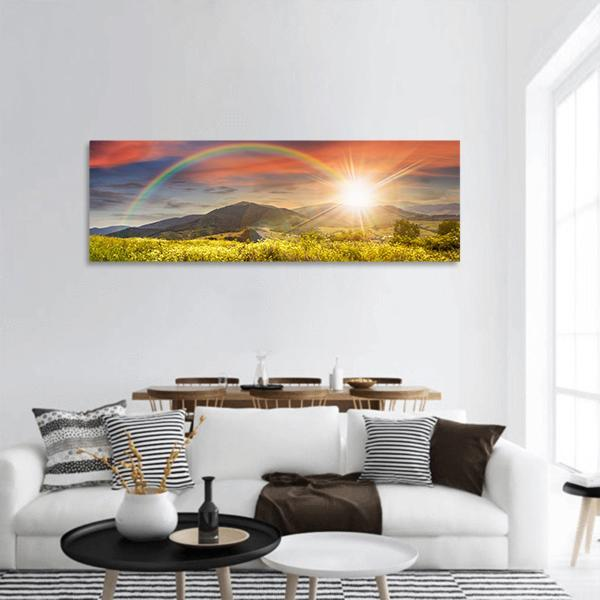 Meadow In Mountains With Rainbow Panoramic Canvas Wall Art 3 Piece / Small Tiaracle