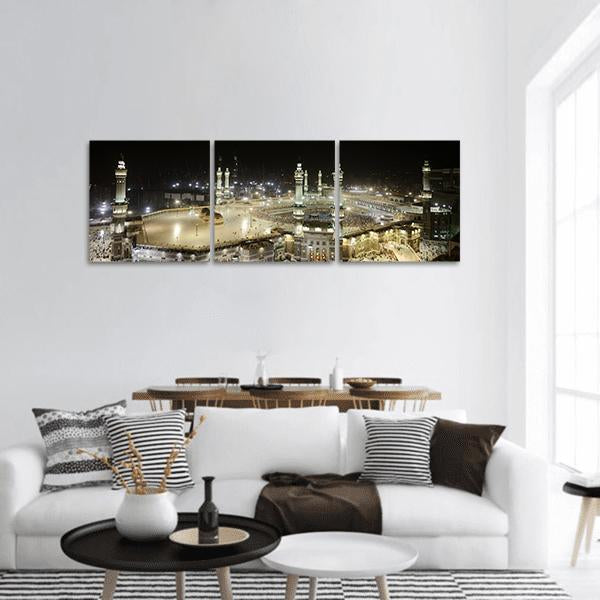 Mecca View At Night Panoramic Canvas Wall Art 1 Piece / Small Tiaracle