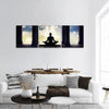 Meditating In Old Temple Panoramic Canvas Wall Art Tiaracle