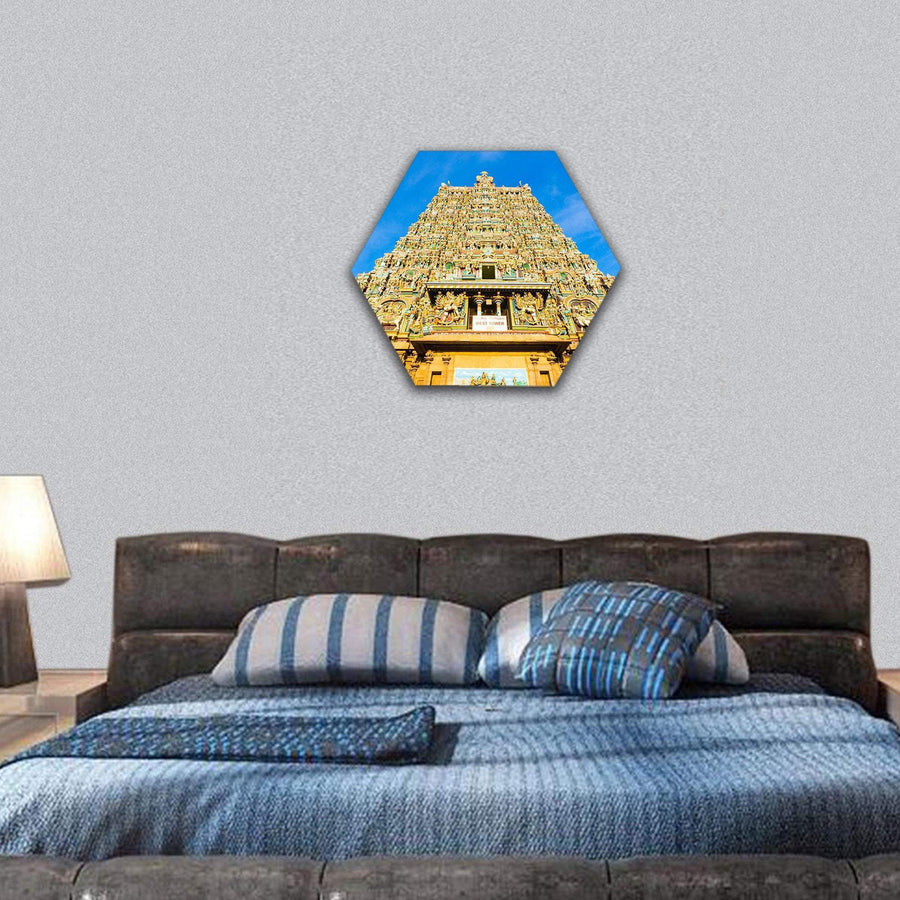 Meenakshi Amman Temple In India Hexagonal Canvas Wall Art 7 Hexa / Small / Gallery Wrap Tiaracle