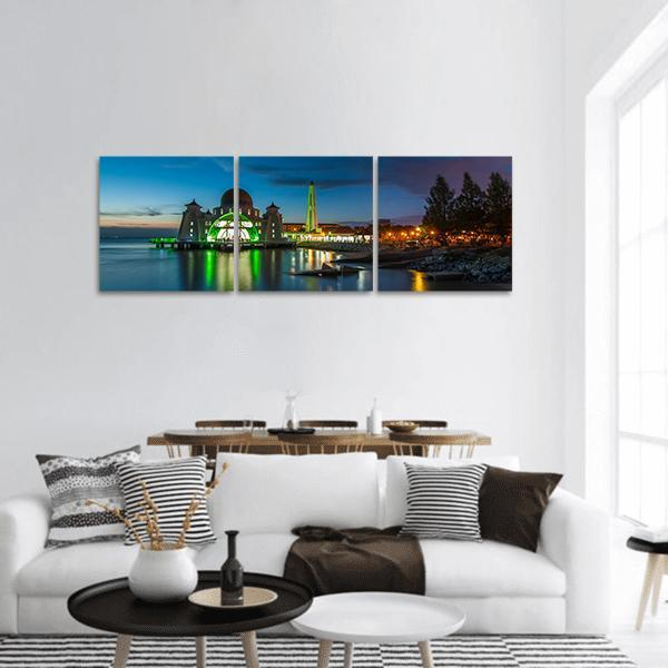 Melaka Straits Mosque In Blue Hour Panoramic Canvas Wall Art Tiaracle