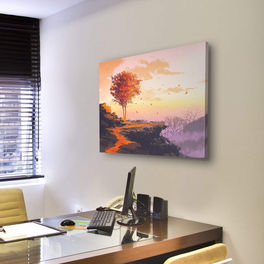 Melting Autumn Tree On Top Of The Mountain Canvas Panel Painting Tiaracle