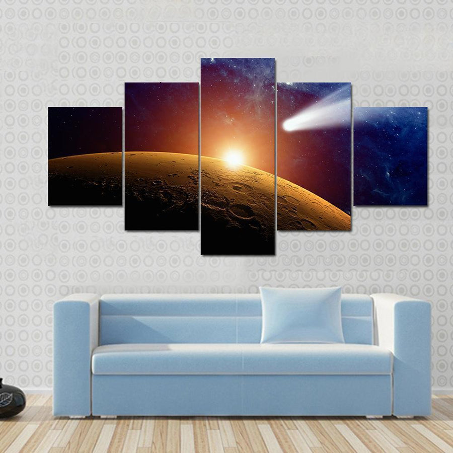 Meteor Approaching Mars Atmosphere Canvas Panel Painting Tiaracle