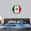 Mexico Flag Painted On Brick Wall Hexagonal Canvas Wall Art 1 Hexa / Small / Gallery Wrap Tiaracle