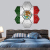 Mexico Flag Painted On Brick Wall Hexagonal Canvas Wall Art 7 Hexa / Small / Gallery Wrap Tiaracle