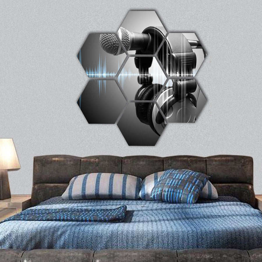 Microphone And Headphones In Studio Hexagonal Canvas Wall Art-1 Hexa-Small-Gallery Wrap-Tiaracle
