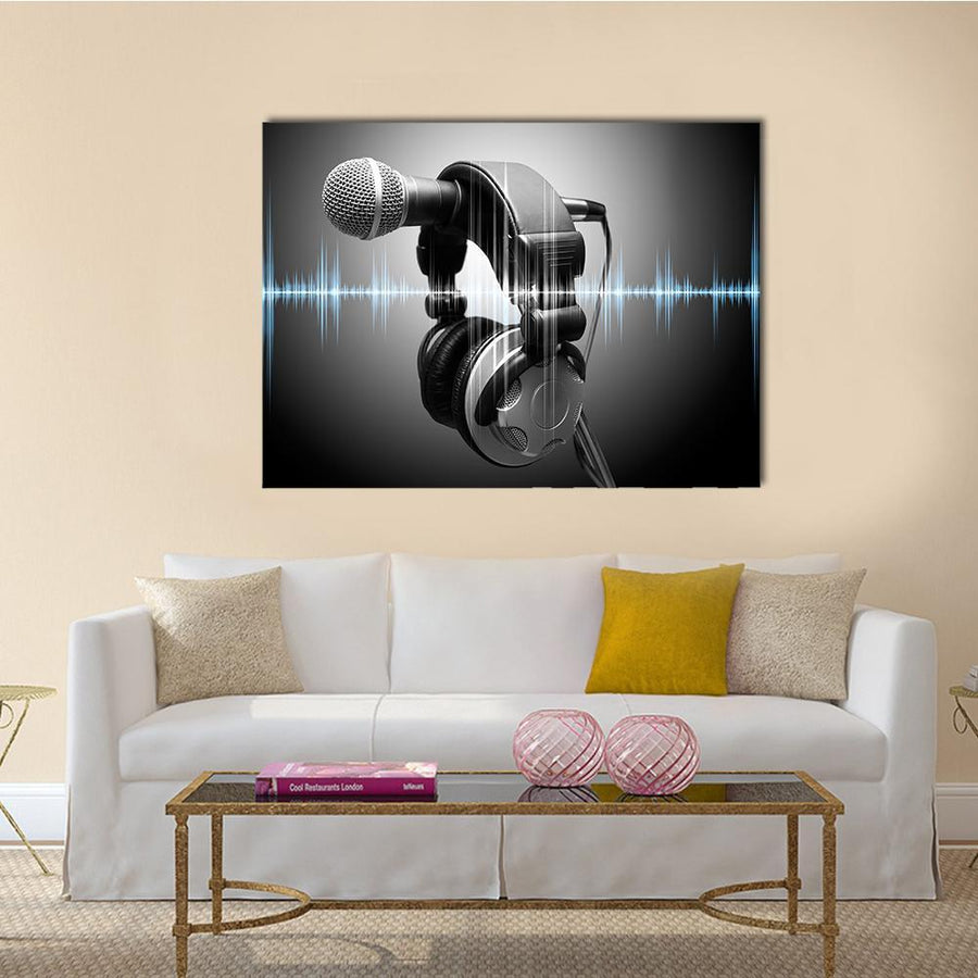 Microphone And Headphones In Studio Multi Panel Canvas Wall Art-4 Horizontal-Small-Gallery Wrap-Tiaracle