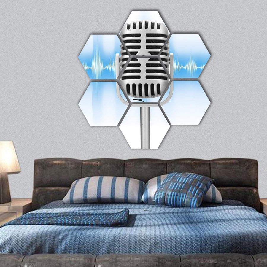 Microphone With Audio Wave Hexagonal Canvas Wall Art 1 Hexa / Small / Gallery Wrap Tiaracle