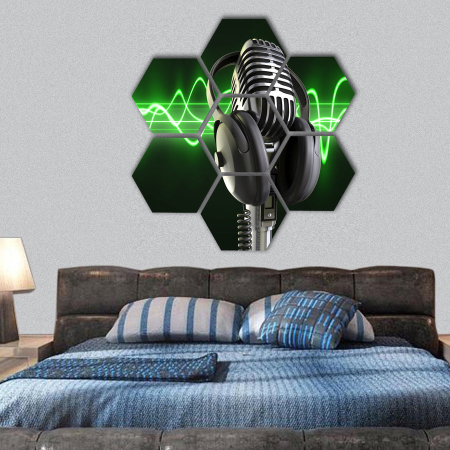 Microphone With Headphones Hexagonal Canvas Wall Art-1 Hexa-Small-Gallery Wrap-Tiaracle