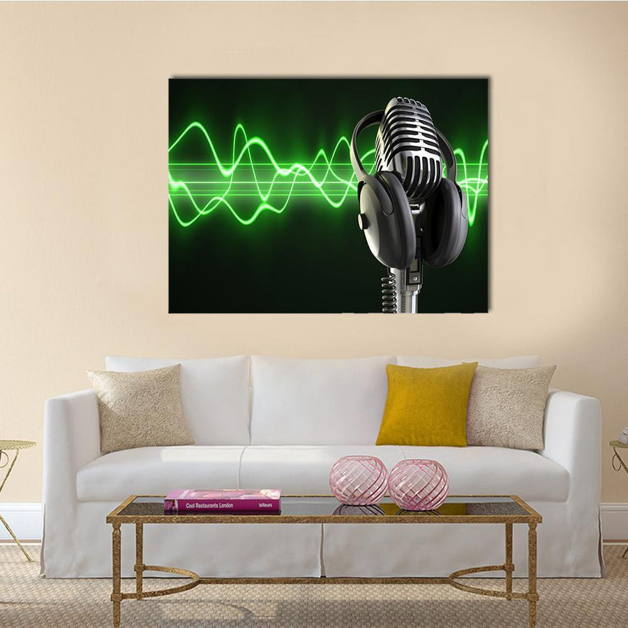 Microphone With Headphones Multi Panel Canvas Wall Art 4 Horizontal / Small / Gallery Wrap Tiaracle