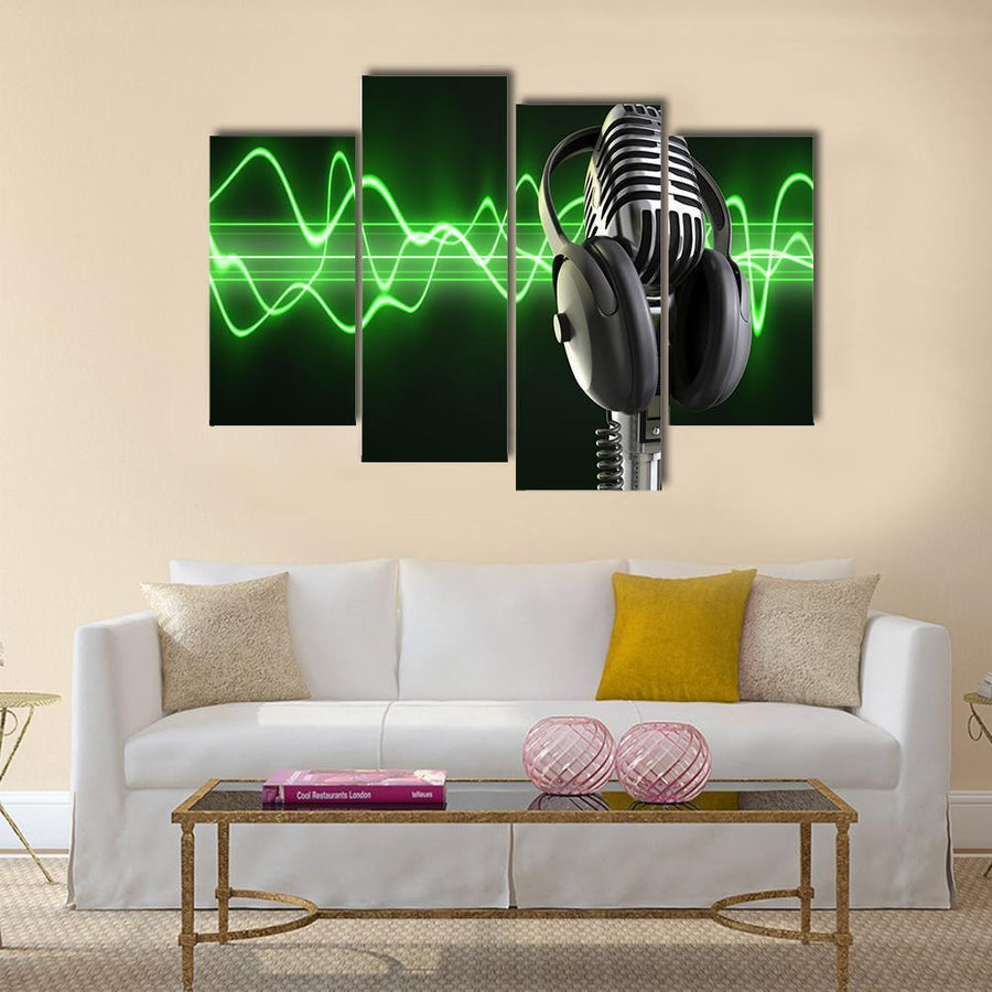 Microphone With Headphones Multi Panel Canvas Wall Art 1 Piece / Medium / Canvas Tiaracle