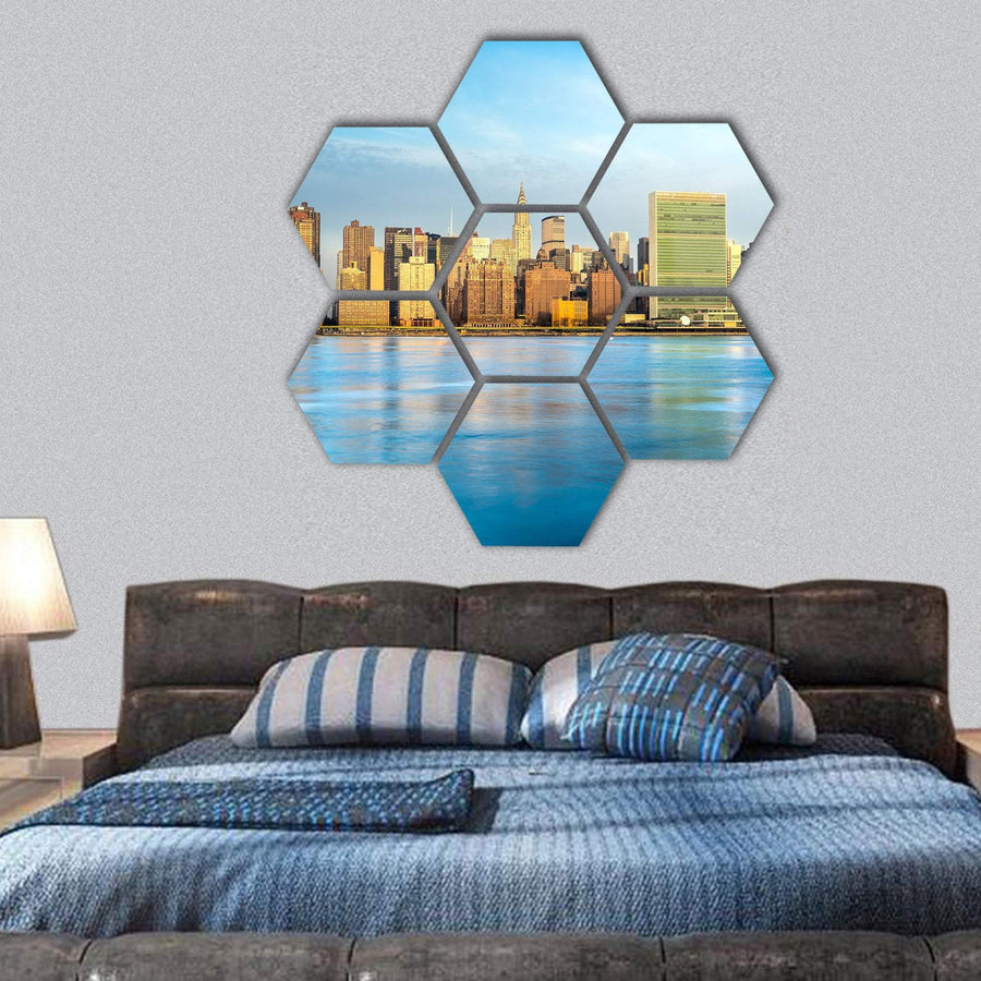 Midtown Manhattan Skyline Hexagonal Canvas Wall Art 1 Hexa / Small / Gallery Wrap Tiaracle