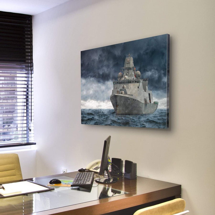 Military Ship In Deep Ocean Multi Panel Canvas Wall Art 4 Pieces / Medium / Canvas Tiaracle