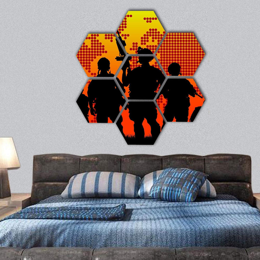 Military Soldier With Weapons At Sunset Hexagonal Canvas Wall Art 1 Hexa / Small / Gallery Wrap Tiaracle