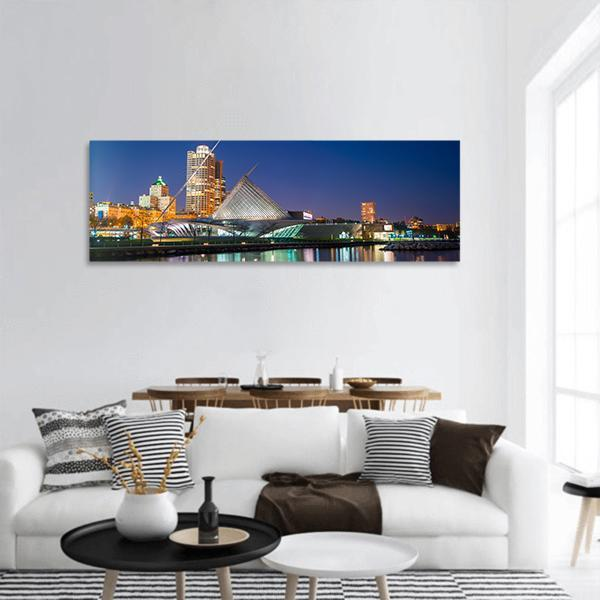 Milwaukee Skyline At Twilight Panoramic Canvas Wall Art 3 Piece / Small Tiaracle