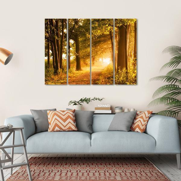 Misty Footpath In The Forest In Autumn Multi Panel Canvas Wall Art 1 Piece / Small / Gallery Wrap Tiaracle