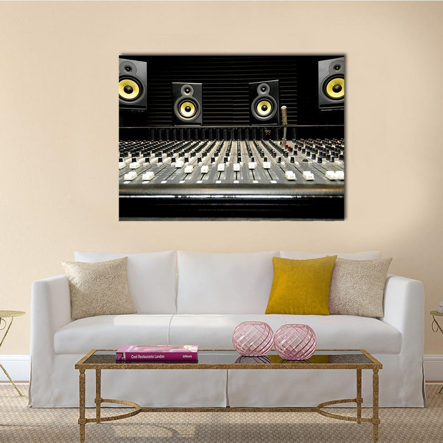 Mixing Desk With Speakers Multi Panel Canvas Wall Art 5 Horizontal / Small / Gallery Wrap Tiaracle