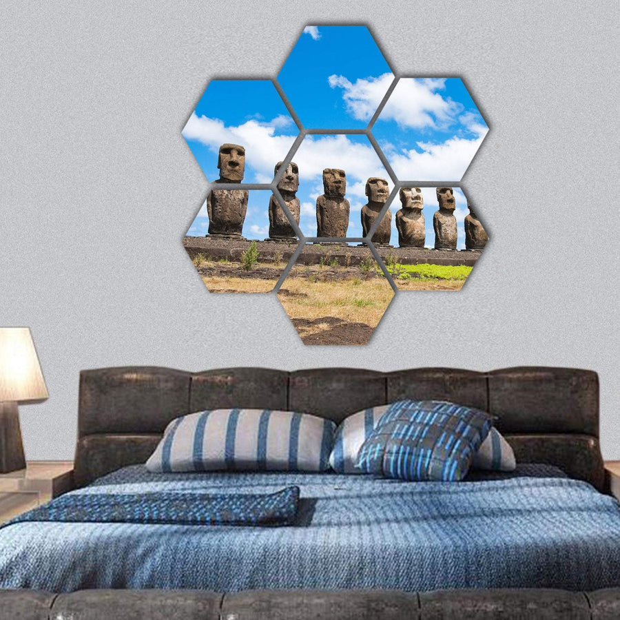 Moais In Ahu Tongariki In Easter Island Hexagonal Canvas Wall Art 1 Hexa / Small / Gallery Wrap Tiaracle