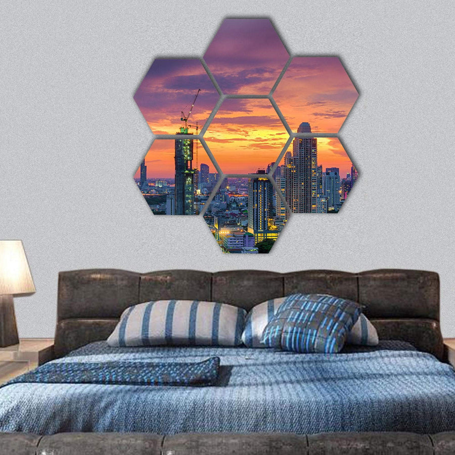 Modern Building In Bangkok Hexagonal Canvas Wall Art 1 Hexa / Small / Gallery Wrap Tiaracle